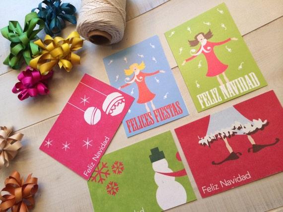 Set of 6 christmas cards feliz navidad greeting card spanish card il570xn m4hsunfo