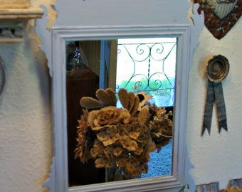 Wall Wood Mirror - Vintage Mirror - French Farmhouse - Shabby Chic Home Decor - Arts and Crafts Decor - Wood Frame