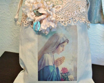 Madonna Gift Bag - Storage Muslin Tote - Blessed Mother - Religious Decor - Altered Art Bag - Virgin Mary and Crown