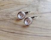 Vintage Bicycle Silver or Bronze Dangle Ephemera Earrings