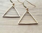 Hammered Brass Triangle Drop Earrings