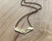 Hammered Brass Chevron Arrow Pendant Necklace