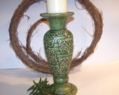 Vintage Ceramic Pillar Candle Holder Chunky Green Candlestick