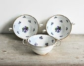 Sweet Violets Royal Stafford England Bouillon Cups Bone China