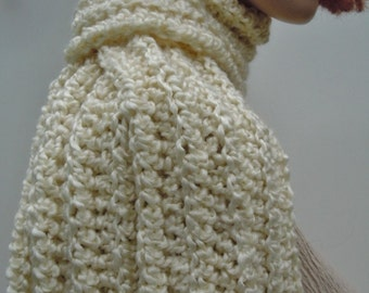 Scarf Pearl White - Pearl Color Scarf - White Scarf - Crocheted Scarf