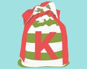 Small Christmas Santa Sack / Bag - GREEN STRIPE - personalised letter