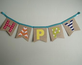SO HAPPY 'Happy' Burlap Bunting