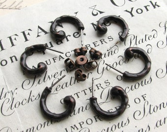 Rustic boho earring post with clutch backs, 15mm semi circle, antiqued black pewter, weathered ear wire (6 ear ring posts) patina earwire