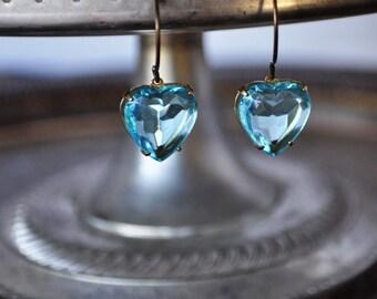 Aqua Blue Heart Earrings - Vintage Assemblage