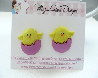 hs-Yellow Chick In an Pink Shell Stud Earrings