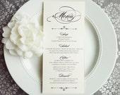 PRINTED Wedding Menu - Elegant Script 4x9 inches - Style M40 - GRACEFUL COLLECTION | dinner menu | table menu | reception menu
