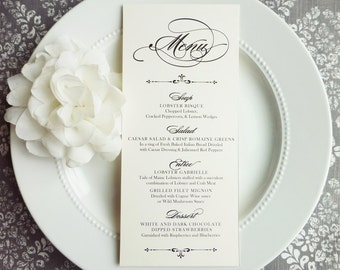 Printed Wedding Menu | reception menu | dinner menu | table menu |  - PRINTED Style M40 - Elegant Script 4x9 inches - GRACEFUL COLLECTION