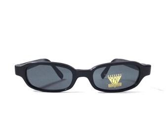 vintage 1990's NOS square black plastic sunglasses dark grey gray lenses mens womens fashion accessories accessory sun glasses retro modern