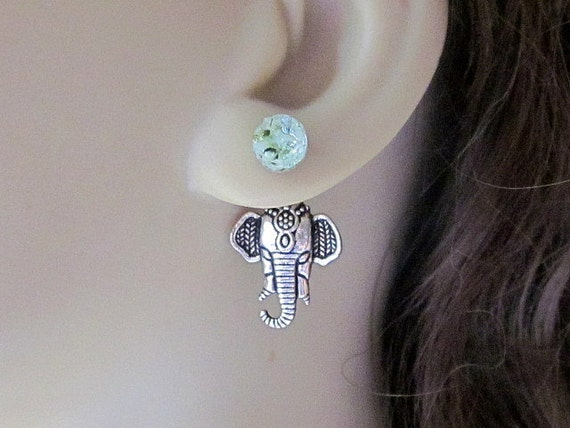 Front Back Earrings Ear Jackets Elephant Earrings Speckled Green Stained Glass Double Sided Druzy Earrings African Elephant