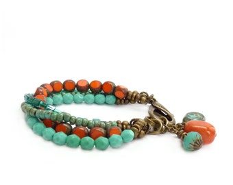 Orange & Turquoise Boho Bracelet - Picasso Glass Beads - Multistrand Bohemian Charm Bracelet - Seed Bead - As Seen in Bead Style Magazine