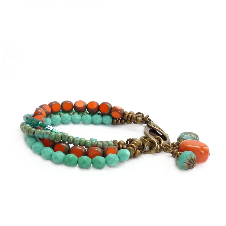 orange turquoise boho bracelet picasso glass