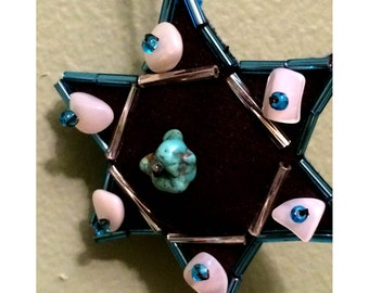 Jewish Star of David Ornament, Black Ultrasuede with Turquoise, Mother of Pearl, and Beads
