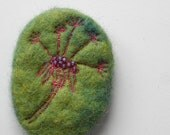 Beaded Embroidered Brooch - Hand made wool felt with glass beads