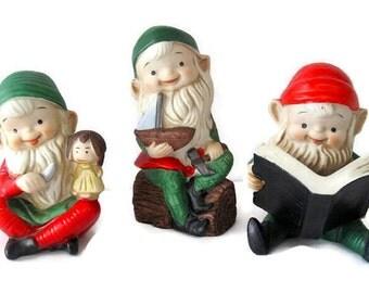 Trio of Vintage Homco Christmas Elves
