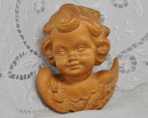 Vintage Carved Wood Cherub Angel Putti Statue Wall Hanging