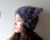 Purple Hand Knitted cat hat,  Knitted Cat Ear Hat, Chunky Knit Hat