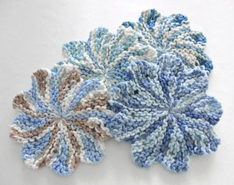 Drink Coasters, Round Coasters for Drinks, Blue Cotton Knit Dishcloths, Set of 4