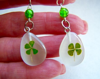Shamrock Clover Green Glass Dangle Earrings