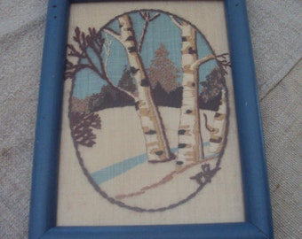 Vintage 70s Winter White Birch Trees Crewel  Embroidered Picture