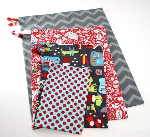 Christmas gift bag set for dog lovers red blue by for Unique christmas gifts for dog lovers