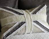 Union Jack Linen Pillow in Charcoal and Natural linen