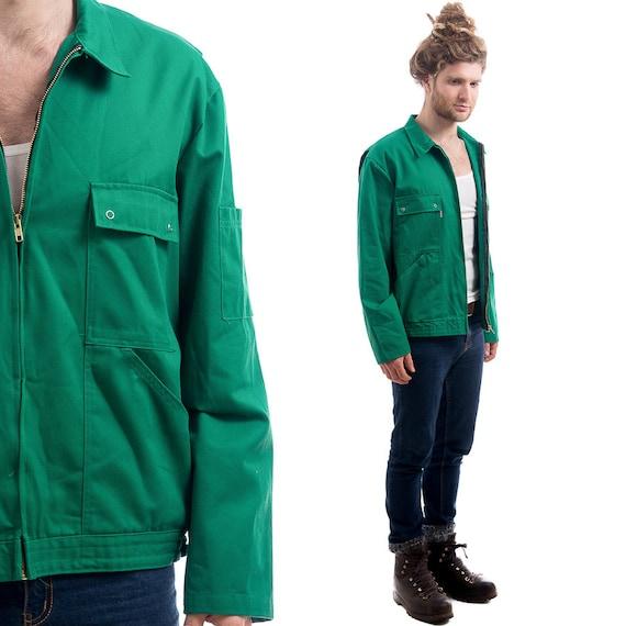 Vintage 80s Work CROP Jacket . Mens Green Short Blazer