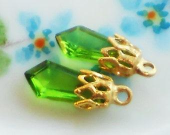 Vintage Glass Drops,peridot drops,filigree charms, Pendant drops,Glass Drop Bead Pendalogue Peridot NOS Charms #1463C