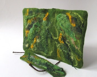 Journal cover notebook cover felt cover  Green moss book cover  gift under 25