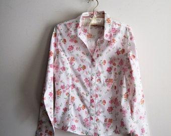 70s Jordache Blouse, Vintage Floral Print Shirt, Retro Cotton Blouse, SALE