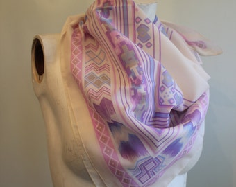 vintage.  60s Tribal Aztec Pastel Color Large Scarf // Glentex