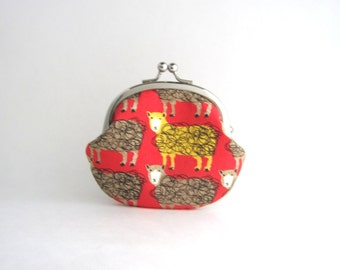 Frame Coin Purse- Sheep on red