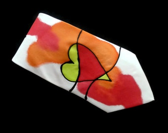 Abstract Hearts Valentine Hand Painted Silk Tie by Julie Riisnaes