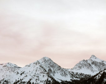 Large Oregon Landscape Photography of White Mountains and Pink Sky