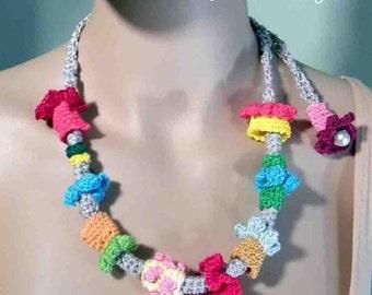 50% Sale -  STYLISH CONTEMPORARY NECKLACE - Wearable Fiber Art Jewelry, Freeform Crocheted Embellishments, Adjustable Length