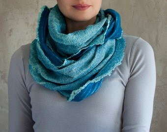 Turquoise felted scarf infinity teal blue women neck warmer cowl striped merino wool and cotton light blue aqua fabric - handmade to order