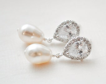 Bridal Earrings, Teardrop Pearl Bridal Earrings, Art Deco Bridal Earrings, Bridal Jewelry