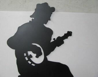 Banjo Player Large Metal Wall Yard Art Silhouette