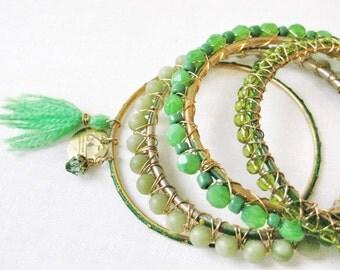 Green Stacking Bangle Bracelet Set Arm Party Metallic Gold Wire Wrapped Jade Gems, Glass Beads, Tassle Dangle Charm Handmade Jewelry Canada