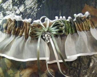 MOSSY OAK camouflage Keepsake wedding garter deer camo garter ivory