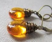Sunburst Amber Glass Earrings, Small Teardrops, Golden Amber, Orange Sunrise, Czech Glass, Under 20, Wire Wrapped