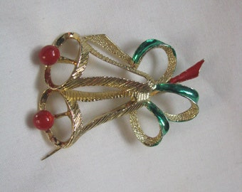 Vintage Gerrys double holiday bell Christmas pin brooch