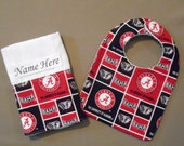 Bama Crimson Tide Fan Baby Boy Gift,Baby Girl Gift,  Alabama, Elephant Personalized, Monogrammed Bib and Burp Cloth, Sports Team Infant Gift
