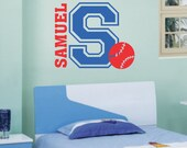 Vinyl Wall Lettering Boy Name Initial Baseball Sports Quote Two Color Decal