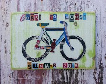 Bike Bicycle Adventure Biking Journey License Plate Sport Customized Word Sign Custom Wedding 10th Anniversary Metal Art Recycled Nursery