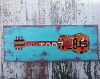 License Plate Art - Funky Music Guitar Rock and Roll - Recycled Art Company - Salvaged Wood - Upcycled Artwork gift for son husband man teen